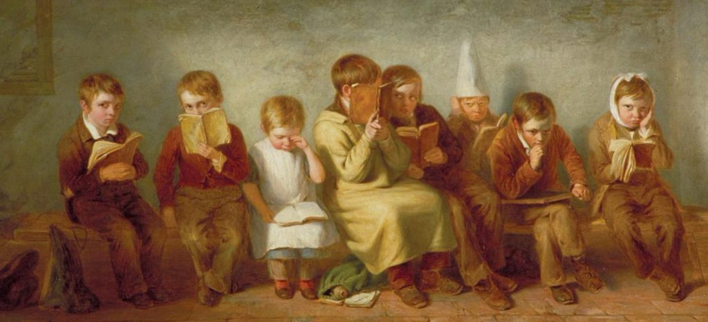 The Frown, Thomas Webster, 1842. Oil on panel. Guildhall Art Gallery, City of London